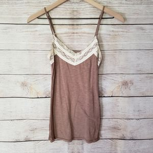 Maurices brown lace tank top